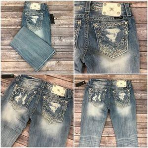 MISS ME Signsture Boot Light Wash Jeans Rinestones
